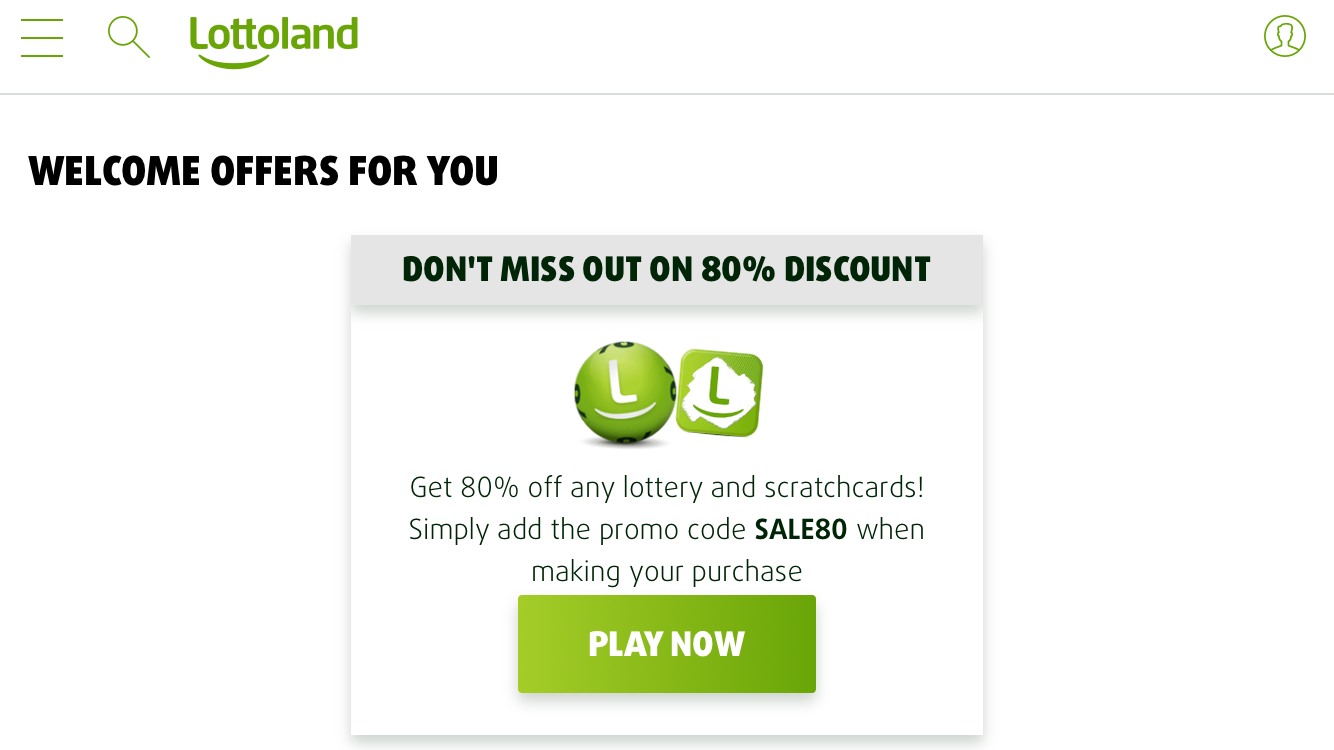 80% off offer from Lottoland